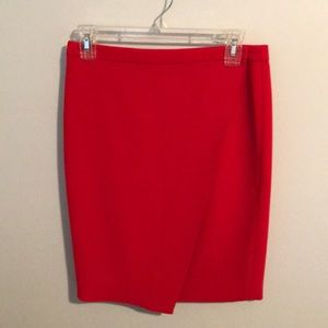 Red J.Crew Wrap Pencil Skirt
